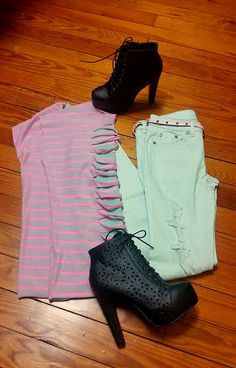 """Here is our 3.16.15 OOTD """"Outfit of the Day"""". Are you feeling a little edgy today? This is the perfect edgy outfit for you with a pop of bright color in our """"Slice of Life"""" Top, """"Summer Rockstar"""" Denim and """"She's got Sass"""" Bootie."""
