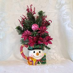Christmas Floral Arrangement in a Coffee by AlwaysInBloomFloral