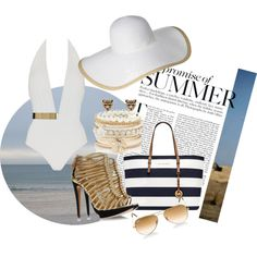 """""""Summer in gold and white"""" by fffantasy on Polyvore"""