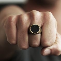 Gold Signet Ring Man Circle Custom Rings Mens Jewelry