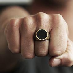 Gold Signet Ring Man Circle Custom Rings Mens Jewelry