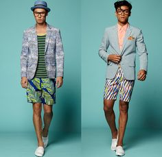 Trina Turk 2015 Spring Summer Mens Lookbook Presentation - Mercedes-Benz Fashion Week New York MBFW - 1960s Sixties Windowpane Checks Suit Slim Tapered Pants Trousers Blazer Shorts Loafer Moccasins Stripes Flowers Florals Blocks Tiles Squares Shirt Polo Shirt Stripes Straw Hat Fish Scales Leaves Foliage Fauna Tropical Graphic Frequencies