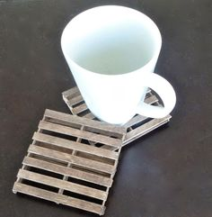 DIY Mini Pallet Coasters. Anything miniature is adorable, right?! Add this to the list. OOhhh and aahhh with joy over these tiny pallets every time you use them in you own home.
