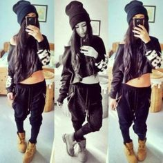 Dope outfit...... beanie, off-shoulder crop top, joggers, and Timbs.... my kind of outfit