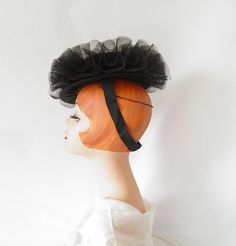 1940s tilt hat, black with tulle, backband