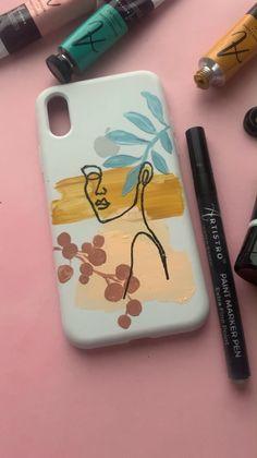 Art Phone Cases, Diy Phone Case, Iphone Cases, Mini Canvas Art, Diy Canvas, Canvas Painting Tutorials, Diy Painting, Pochette Portable, Acrylic Paint Set