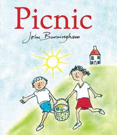 Picnic by John Burningham. A bedtime story that's fun for story time too. A girl and a boy go on a picnic and meet many friendly (and one unfriendly) animals along the way. Picnic Theme, Picnic Spot, Penguin Random House, House On A Hill, Simple Stories, Happy Weekend, Book Club Books, New Pictures, Childrens Books