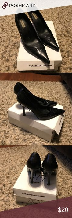 Black Steve Madden pointed toe pumps Black pointed toe pump with snake skin detail. Worn, loved, and surprisingly comfortable. Some nicks on heel and wear on sole. Still look great! Steve Madden Shoes Heels