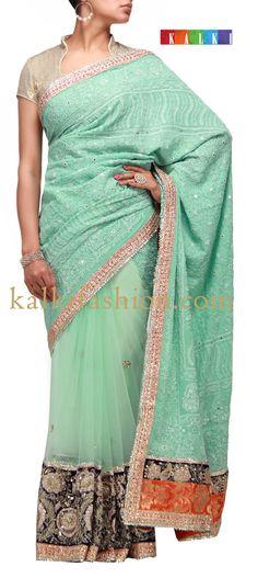 Buy it now http://www.kalkifashion.com/blue-half-half-saree-with-chikankari-work.html Blue half half saree with chikankari work