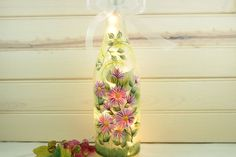 Lighted Wine Bottle Pink Daisy Hand Painted 750 ml