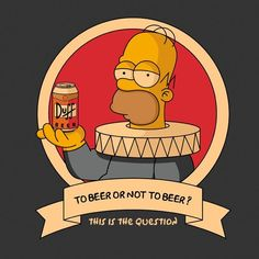 Camisetas originales online - Pampling - To Beer Or Not To Beer? Simpsons Tattoo, Simpsons Drawings, The Simpsons, Los Simsons, Duff Beer, Simpson Wallpaper Iphone, Digital Foto, Frank Zappa, Foto Art