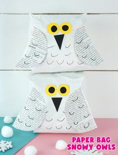 """Vertical close up image of two snowy owl crafts one laying on top of the other in front of a white shiplap background with the text """"paper bag snowy owls"""" in the bottom right corner. Owl Crafts, Animal Crafts, Paper Crafts, Classroom Crafts, Preschool Crafts, Preschool Themes, Winter Crafts For Kids, Winter Kids, Hedwig Owl"""