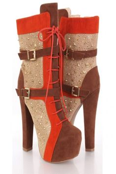 Brown Faux Suede Studded Colorblock Platform Midcalf Boots