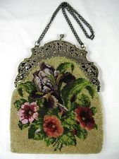 ANTIQUE FLORAL BEADED PURSE ON FIGURAL SCENIC SILVER FRAME