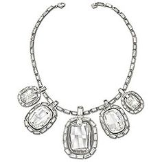 Sincerely Necklace -   Show off your femininity with this stunning necklace. It features five large, asymmetric clear crystals framed in delicate baguette-cut crystals. The ruthenium plating enhances the intensity of this glamorous design, creating a classic look with a modern twist. $540