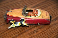 Tin Toy Friction Car with Dog Chasing. Japan 1050's Antique Drive Tin Vehicle .. #Japan