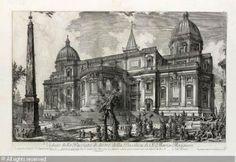 G.B. Piranesi - S. Maria Maggiore, veduta della facciata posteriore, 1742 - Incisione