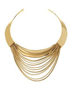 www.cewax.fr love this statement necklace ethno tendance, style ethnique, #Africanfashion, #ethnicjewelry - CéWax aussi fait des bijoux : http://www.alittlemarket.com/collier/fr_collier_plastron_multi_rang_ethnique_en_tissu_africain_beige_prune_jaune_-15921837.html -  Y2M1R Diane von Furstenberg Snake Chain Collar Necklace