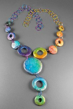 Margit Bohmer  Polymer Clay Necklace combined with colored wire