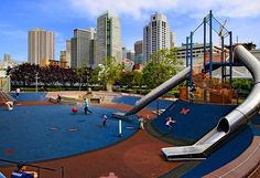 Yerba Buena Playground, San Francisco, is on the roof of Moscone Center