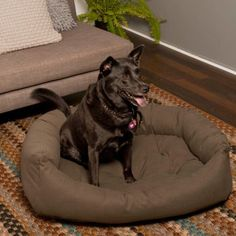 Costco: Slumber Jax® Large Bolster Micro-suede Pewter Dog Bed For Dogs 40-85 lbs