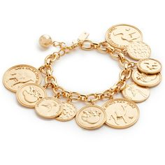 Kate Spade New York Flip a Coin Bracelet ($97) ❤ liked on Polyvore featuring jewelry, bracelets, gold, lobster claw charms, coin jewellery, kate spade charm, coin jewelry and charm jewelry