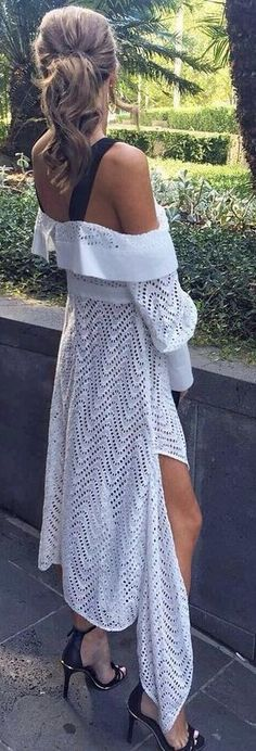 #summer #lovely #style |  White Eyelet High and Low Off The Shoulder Dress