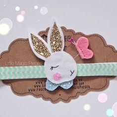 Dreaming Bunny Rabbit Headband Glitter by LittleMagicPieces