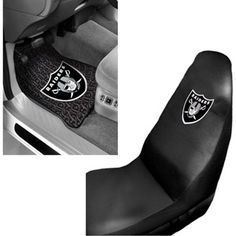 Oakland Raiders 2 pc Front Floor Mats and Oakland Raiders Car Seat Cover Value Bundle
