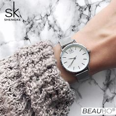 """Universe of goods - Buy """"SK Super Slim Sliver Mesh Stainless Steel Watches Women Top Brand Luxury Casual Clock Ladies Wrist Watch Lady Relogio Feminino"""" for only USD. Cheap Watches, Cool Watches, Watches For Men, Wrist Watches, Women's Watches, Watches Online, Silver Watches, Stylish Watches, Black Watches"""