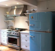 Stainless, white and BLUE Big Chill Fridge. LOVE