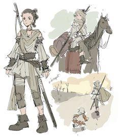 More star wars medieval AU mostly TFA stuff