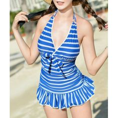 Navy Style Halter Neck Striped Color Matching Bowtie Embellished Ruffled Swimwear For Women