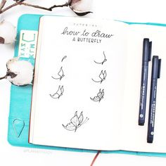 Bullet journal drawing ideas, Bullet journal drawing tutorial, How to Draw a Butterfly. | adybulletjournal