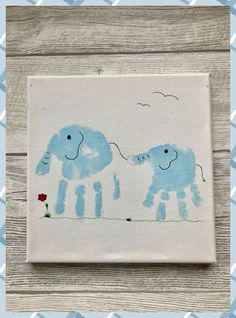 Elephant handprints - Sibling picture on linen . Autumn Activities For Kids, Spring Crafts For Kids, Craft Projects For Kids, Kid Activities, Fun Halloween Crafts, Fun Crafts, Stick Crafts, Resin Crafts, Thumbprint Crafts