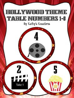 Hang these Hollywood Table Numbers above student tables or centers.  These Hollywood Table Numbers coordinate with other Hollywood Theme Marquee Lights products in my store.  The Marquee Lights numbers do not appear to have lights like the alphabet letters do.