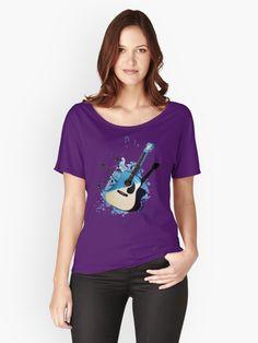 « Blue guitar - guitare - musique- instrument » par LEAROCHE Instruments, Shirt Style, Relax, V Neck, T Shirt, Women, Fashion, Guitar, Products
