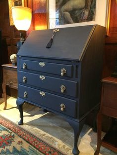 Chic Muebles Antique Style Writing Bureau Shabby Chic Desk Writing Table Blue French Painted In Excellent Condition For Sale In Longdon, Tewkesbury