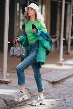 Elsa Hosk wearing J Brand Jules Jeans in Metropole, Balenciaga Triple s Sneakers, Balenciaga Oversized Shell Jacket and Dior Mini Trotter Boston Bag Star Fashion, Fashion Models, Fashion Outfits, Womens Fashion, Fashion Trends, Fashion Tips, Instagram Mode, Instagram Fashion, Elsa Hosk
