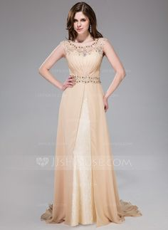 Evening Dresses - $158.99 - A-Line/Princess Scoop Neck Sweep Train Chiffon Lace Evening Dress With Ruffle Beading Sequins (017041158) http://jjshouse.com/A-Line-Princess-Scoop-Neck-Sweep-Train-Chiffon-Lace-Evening-Dress-With-Ruffle-Beading-Sequins-017041158-g41158?ver=1