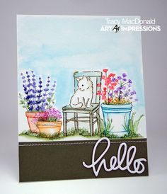 Having a play with more of the new watercolor sets from Art Impressions .  For this one I've used the Wooden Chair mini set , WC C...