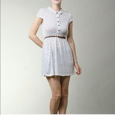 ⚜NEW ARRIVAL⚜ Polka Dots Dress by Moon Collection Soft Knit 35% Cotton 65% Polyester.  White with Black Polka Dots.  Scalloped Collar.  Button Upper.  Elastic Middle.  Brown Braided Belt. Price is Firm unless Bundled.  No Trades. Photos Courtesy of Moon Collection. Moon Collection Dresses