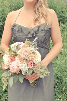 Love this soft design and color palette for bridesmaids dresses and bouquets. Soft dresses always look the best on the girls.