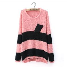 Red Black Stripes Round Neck Womens Sweater With Pocket