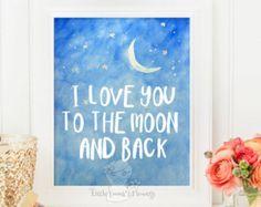 Kwekerij citaat ik hou van je naar de maan en terug kwekerij print offerte kwekerij wall decor kind muur kunst inspirerende citaat Kids Wall Art 145