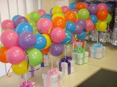 balloon decorations for wedding are kind of the decoration which people will use to prettify a party. Decorate the children birthday party with this nice Balloon Arrangements, Balloon Centerpieces, Balloon Decorations, Birthday Decorations, Centerpiece Ideas, Table Decorations, Masquerade Centerpieces, Birthday Centerpieces, Wedding Centerpieces