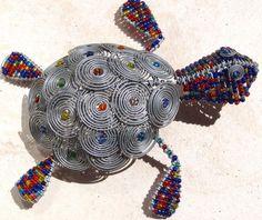 Wire beaded tortoise