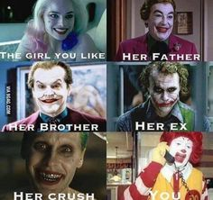 Find images and videos about funny, joker and harley quinn on We Heart It - the app to get lost in what you love. Really Funny Memes, Stupid Funny Memes, Funny Relatable Memes, The Funny, Hilarious, Best Funny Pictures, Funny Images, Funny Photos, Jokes