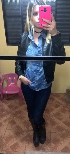 camisa jeans + bomber