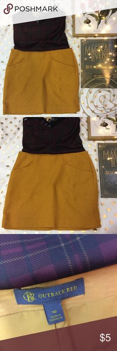 Mustard yellow mini textured skirt size 10 Outback red mustard yellow textured faux pocket skirt size 10 Faux pockets ! Like new  Lining inside  Zipper in back Outback Red Skirts Mini
